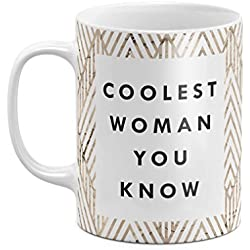 Coolest Woman You Know Rose Blossom Golden Chevron Pattern 11 ounce Ceramic Tea Coffee Mug Taza