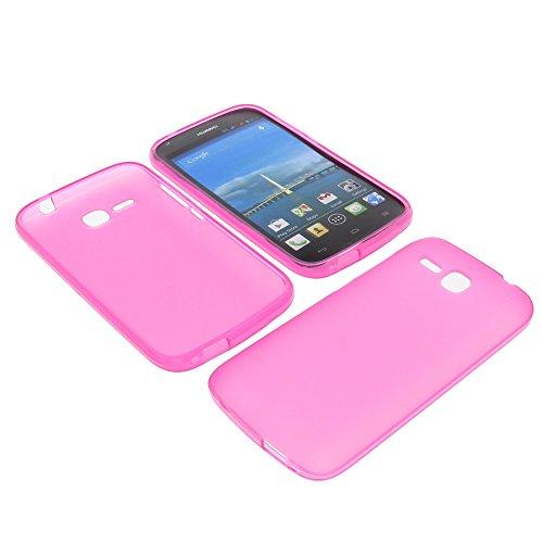 foto-kontor Tasche für Huawei Ascend Y600 Gummi TPU Schutz Hülle Handytasche pink