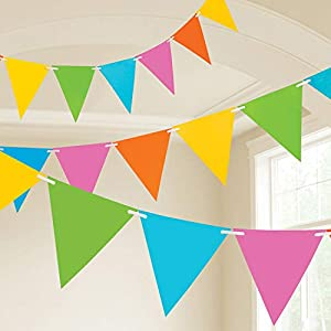 Amscan International- Cinta decorativa, Color 10m plastic pennant banner - pastl multi (9903781)