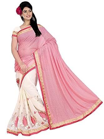 MARUTI FASHION Women's Georgette Saree With Blouse Piece (Pink_Webon_Saree5)