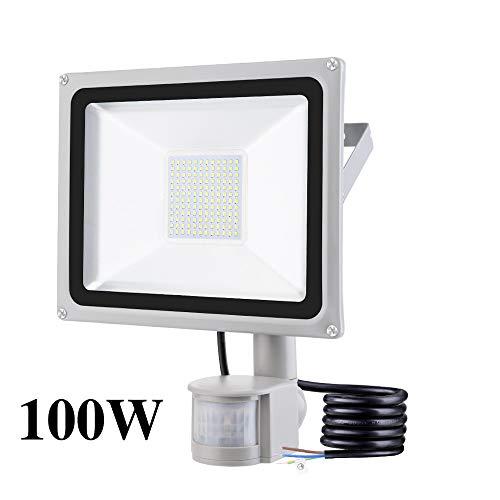 100W Foco LED con Sensor Movimiento, IP65 Impermeable 10000LM Super Brillante Foco...