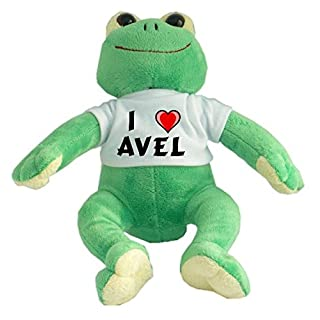 Plush Frog with I Love Avel T-shirt (first name/surname/nickname)
