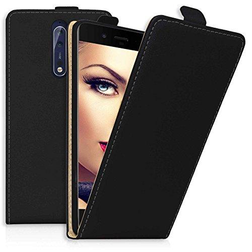 mtb more energy® Funda Flip Case para Nokia 8 (5.3'') | negro | cuero sintético | carcasa cubierta estuche width=
