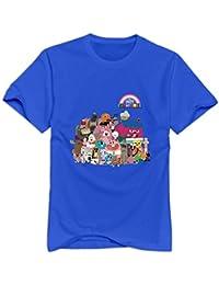 Kumiu Men The Amazing World Of Gumball Logo T-Shirt 100% Cotton Humor