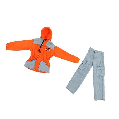 Feuerwehrmann Kostüm Anzug Jacke mit Hose Set Für 1/6 Soldaten Puppen ( 2pcs/Set ) - Orange ()