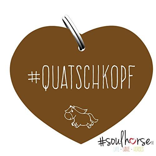 """Pferde Glücksmarke """"#Quatschkopf"""" in bronze von Soulhorse für Halfter, Trense und Zaumzeug"""