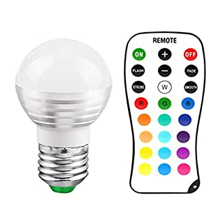 ANGTUO 1 Pcs E27 3W Screw LED Light Bulb RGB 16 Color Changing Dimmable with Remote Control