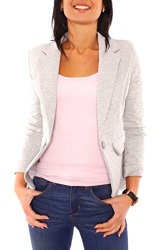Damen Sommer Sweat Jersey Blazer Jacke Sweatblazer Jerseyblazer Sakko Kurz Gefüttert Langarm Uni Einfarbig Hellgrau Meliert XS - 34 (S)