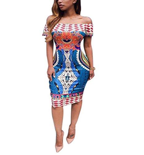 Rcool Mini-traditionellen afrikanischen Frauen gedruckt Dashiki Bodycon kurze Ärmel Kleid figurbetonten Rock Multicolor (Kleid Lila Damen Lange Dashiki)