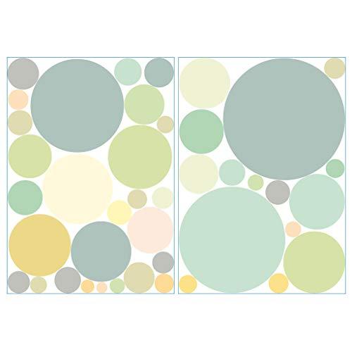 Wandtattoo 40 Kreise in zarten Pastellfarben Dekokreise Kinderzimmer Wandsticker Aufkleberset/Pastell-grün /