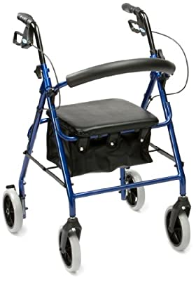 Drive R8 Blue Aluminium Rollator with Padded Seat and Vinyl Underseat Bag