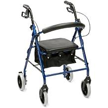 Drive Medical R8BL-23 - Asiento con andador (acolchado, aluminio, muy ligero, plegable), color azul