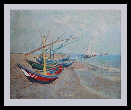 Vincent van Gogh Boote von Stes Maries, 1888 Poster Bild Kunstdruck Lichtdruck im Alu Rahmen in schwarz 70x90cm