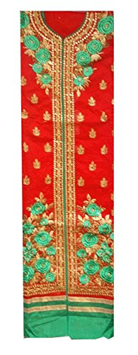 C&S Un-stitched Chanderi Cotton Embroidered Salwar Suit Dress Material With Lining (RED)