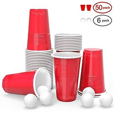 Ohuhu Gobelets de fête, gobelets américains en Plastique jetables, gobelet en Plastique de bière-Pong 50pcs avec 6 bières de Pong réglées pour la fête de Vacances de Noël 16oz / 473ML