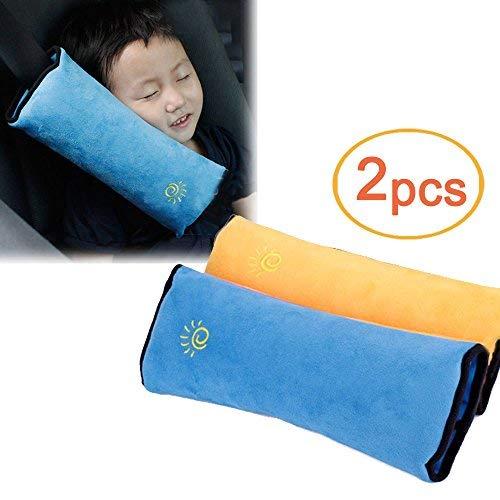 Lezed Cinture di sicurezza per auto,Copertura della cintura di sicurezza per bambini,Cuscino a pelo,Bambini spalle cuscino,bambino cinture spalle (Blu e giallo)