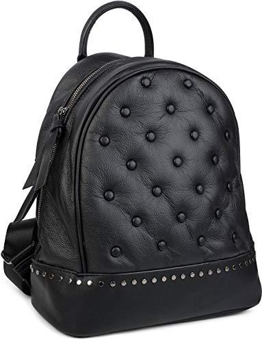 styleBREAKER Zaino con borchie da donna zainetto in stile Chesterfield, chiusura con cerniera, borsa 02012266, colore:Nero