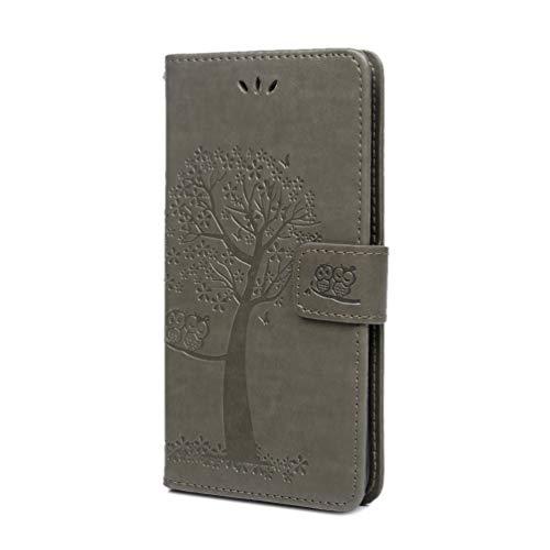 Huawei P30 Lite Handytasche für Huawei P30 Lite Hülle PU Leder Tasche Handyhülle Eule Baum Muster Flip Case Cover Schutzhülle Skin Ständer Klapphülle Schale Bumper Magnet Clip Deckel