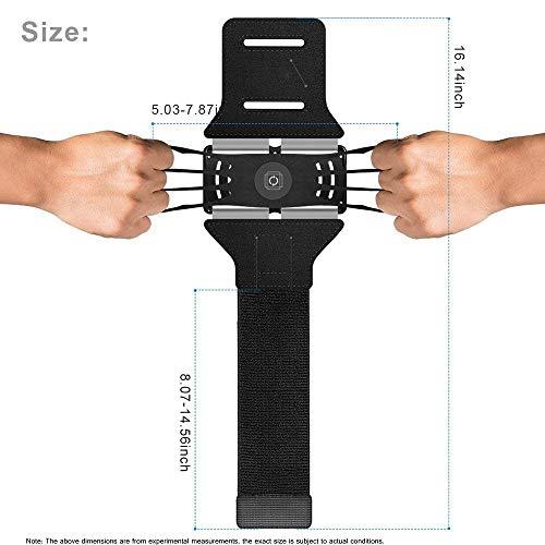 AWIS Sport Armband 180°Drehung,mit Schlüsseltasche&Verstellbarem Band,Sport Armbänder für Smartphones,Laufen,Joggen,Radfahren,Trainning,Black