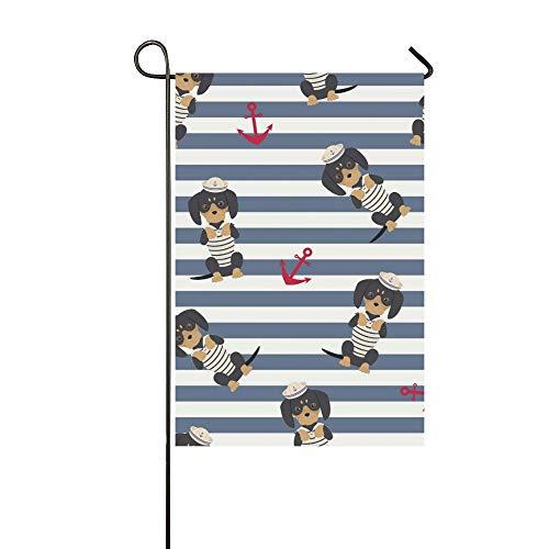 Home Dekorative Outdoor Doppelseitige Dackel Welpen Sailorman Kostüm Anker Um Garten Flagge, Haus Yard Flagge, Garten Yard Dekorationen, saisonale Willkommen Outdoor Flagge Frühling Sommer Geschenk (Einfach Dackel Kostüm)