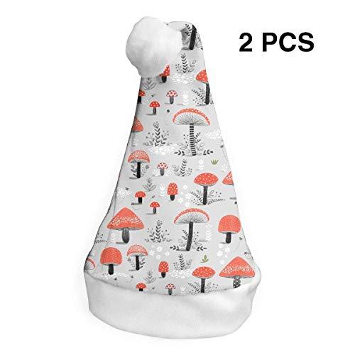 Weihnachtsmannmütze, Mushroom Patter Merry Christmas, Hüte, Erwachsene, Kinder, Kostüm, Weihnachtsdekoration, Party-Zubehör (2 Stück) Merry Mushroom