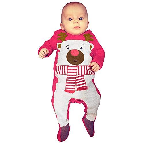 Robemon✬Noël Hiver Ensemble Bébé Fille Garçon Vêtements Manches Long Petite Biche Christmas Rouge Rayé Salopettes Unisex Toddler Romper Kids
