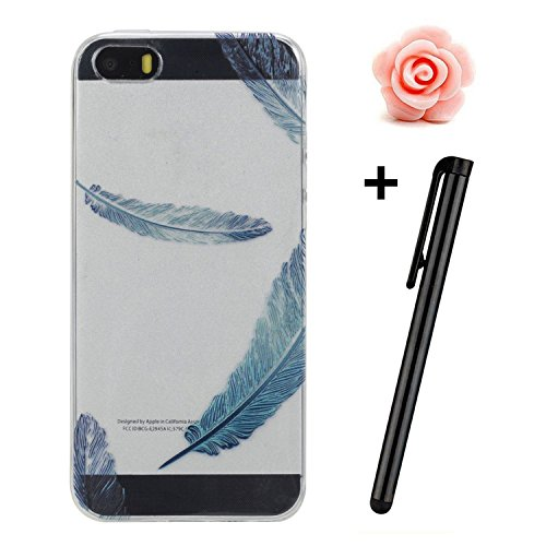 Custodia Iphone SE, toyym iPhone 5 5S Custodia Bumper trasparente, flessibile, in silicone [trasparente] morbido TPU ultra sottile resistente agli urti + Drop assorbimento + antigraffio] Cover Skin co Blue feather