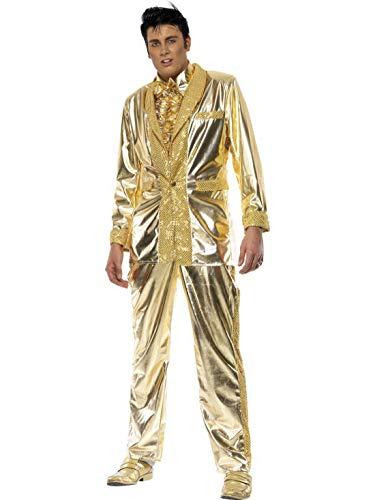 Elvis Jacke (Luxuspiraten - Herren Männer glänzendes Elvis Kostüm mit Jacke, Hose und Hemdvorderseite, perfekt für Karneval, Fasching und Fastnacht, M, Gold)