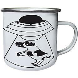 Abducción de vaca OVNI negra Retro, lata, taza del esmalte 10oz/280ml w399e