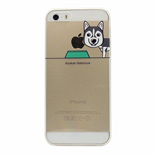 iPhone 5 / 5S / SE Hülle, Keyihan Niedlich Haustier Hunde und Seine Näpfe Muster Dünn Durchsichtige Weiche Silikon TPU Handy Schutzhülle Bumper für iPhone 5 / iPhone 5S / iPhone SE (Alaskan Malamute) (Alaskan Hund Malamute Macht)