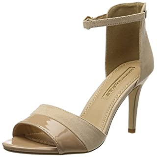 Buffalo Shoes 312339 IMI SUEDE PAT PU, Damen Knöchelriemchen Sandalen, Beige (NUDE 01), 41 EU