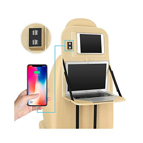 KXIN Tragbare Klappbare Auto-Rücksitz-Aufbewahrungstasche, Tablettisch Laptop Notebook Tisch Mit 4 USB-Ladeanschluss Mit Tablet-Ständer PU-Leder Wasserdicht,Gold