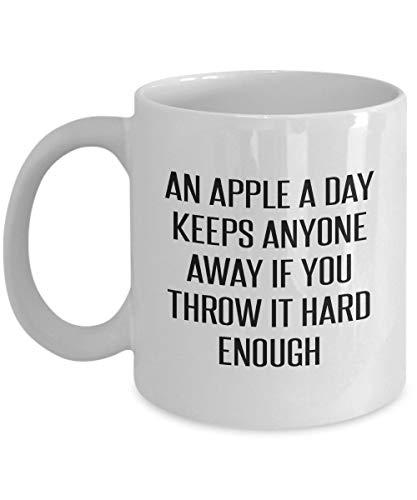 An Apple A Day Keeps Anyone Away If You Throw It Hard Enough Sarcastic Mug Le Creuset Apple