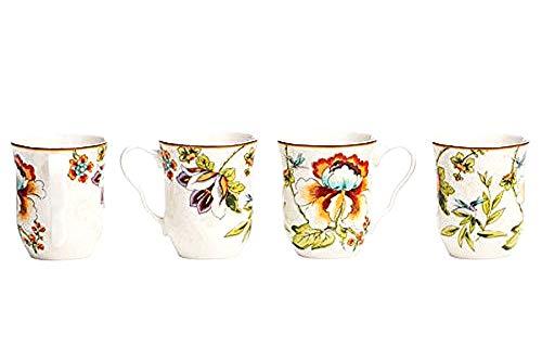 222 Fifth Bella Vista Floral Blooms Becher/Tassen für Kaffee, Tee oder Latte (4er Set) 340 ml Feines Porzellan - 222 Fifth Dinnerware