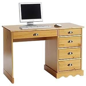 Bureau multi rangements COLETTE, tiroirs pin massif lasuré couleur miel
