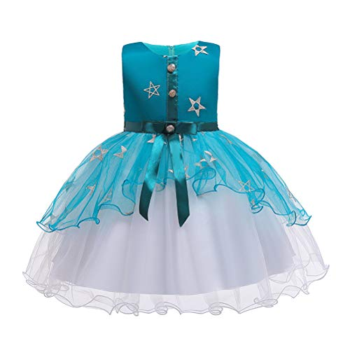 TAAMBAB Mädchen Hochzeit Formelles Kleid Ärmelloses, Geschwollenes Tüllkleid Gesellschaftstanzkleid Kind Prinzessin Brautjungfer Taufe Party Kleider 2-14 Jahre (Lace Belted Dress)
