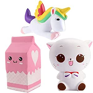 Squishy Cat Unicorn : Rocita Squishy Toys Stress Reliever for Kids and Adults Slow Rising Cream Scented Soft Toys ...