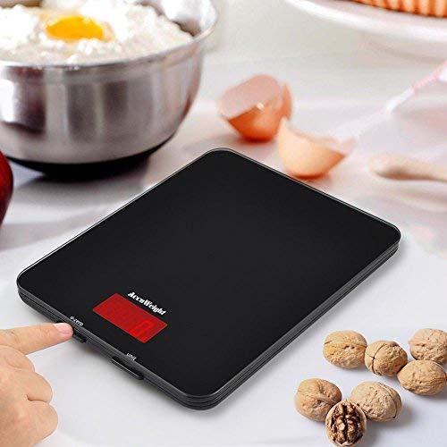 ACCUWEIGHT Bilancia da Cucina Digitale con Alta Precisione, Multifunzionale Bilancia da Cucina Elettronica, Design Liscio Facile da Pulire, LCD Display Retroilluminato, 5kg - 2
