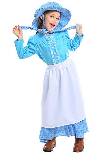 Fortunezone Mädchen Pionier Colonial Bauer Kostüm, Viktorianische Maid Kostüm Märchen Prinzessin Kostüm viktorianischen Prärie Kleid - Pionier Mädchen Kleid Kostüm