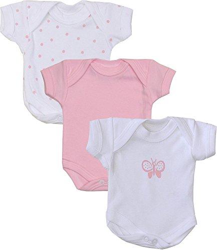 BabyPrem Baby Pack of 3 Girls Bodysuits Premature Clothes 0-7.5lb PINK SPOT P3