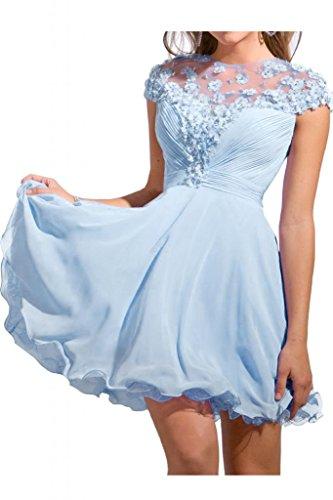 Victory bridal col court abendkleider de qualité motif danse cocktailkleider sommerkleider brautjungfernkleider en chiffon Bleu - Bleu