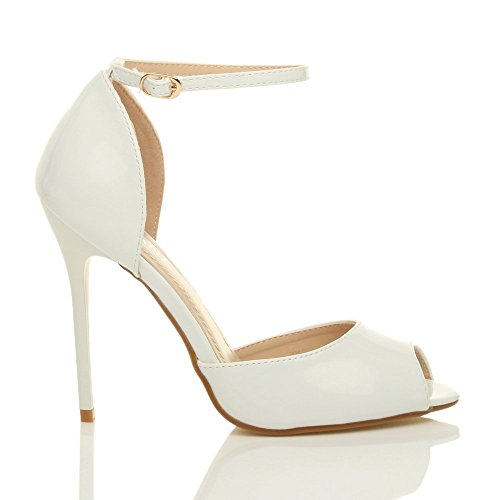 Femmes talon haut aiguille sangle de cheville boucle sandales chaussures peep toe escarpins pointure Verni blanc