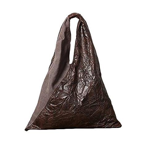 YAAGLE Damen einfach Handtasche Baumwolle Schultertasche größe Tasche shoppen Kaffee (Stern Klar Deckel)