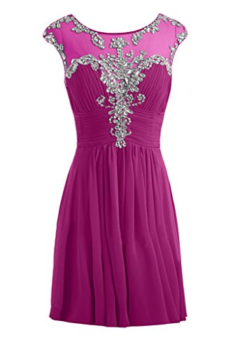Gorgeous Bride Festlich Lang A-Linie Chiffon Tuell Applikation Abendkleider Festkleider Ballkleider Fuchsia-Kurz