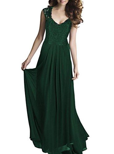 CHENGYANG Damen Elegant Spitzen V-Ausschnitt Cocktailkleid Chiffon Faltenrock Langes Abendkleid Dunkel Grün