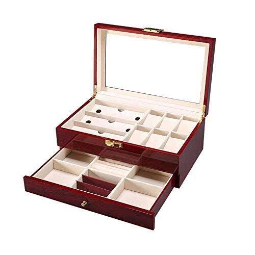 Sunny Herrenuhr Box, Holz Aufbewahrungsbox Aufbewahrungsbox Herrenschmuck Uhrenserie Ausstellungsstand Glass Top 6 Abnehmbare Kissen Und Glasabdeckung (Holz Herrenuhr-boxen)