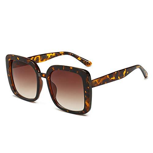 Yangjing-hl Brille Klassische Box Sonnenbrille Frauen Straße schießen Wilden Platz Sonnenbrille weiblichen Leoparden Rahmen Tee