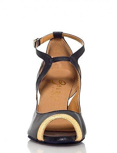 ShangYi Chaussures de danse(Or) -Non Personnalisables-Talon Bobine-Flocage-Latine / Salsa Gold