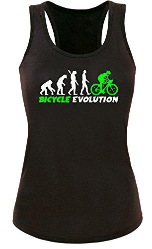 Bicycle Evolution - Fahrrad Evolution - Damen Tanktop Schwarz/Weiss-neongruen
