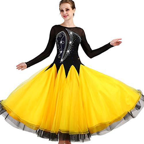 (Ballroom Tanz Wettbewerb Kleider für Damen Aufführung Modernen Walzer Tanz Kostüme Langarm Große Schaukel, S)
